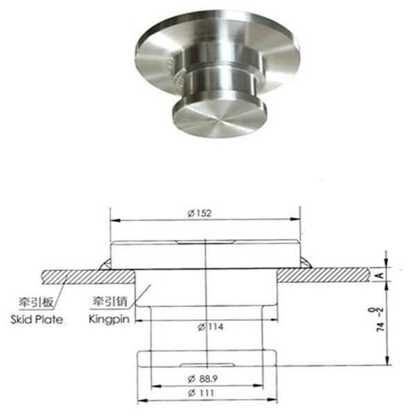 Welded kingpin 3.5 inch